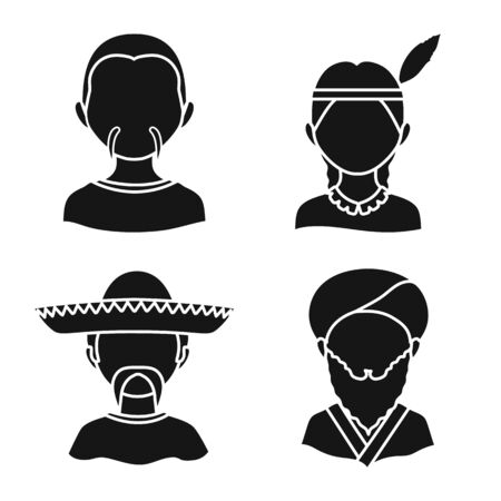 Vector illustration of person and culture sign. Set of person and race vector icon for stock.