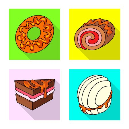 Isolated object of confectionery and culinary symbol. Collection of confectionery and colorful vector icon for stock.