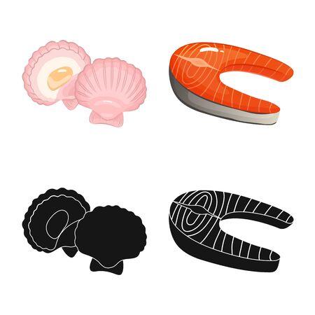 Vector illustration of fresh and restaurant icon. Set of fresh and marine vector icon for stock. Иллюстрация