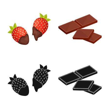 Vector design of food and yummy icon. Collection of food and brown stock symbol for web.