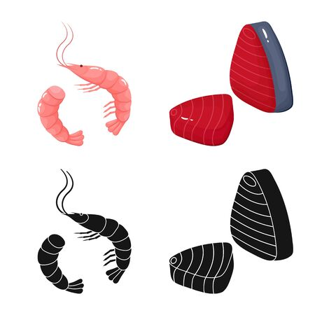 Vector illustration of fresh and restaurant logo. Collection of fresh and marine stock vector illustration.