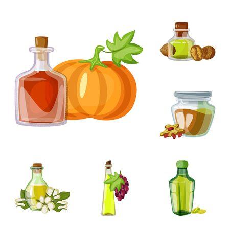Vector illustration of bottle and glass sign. Set of bottle and agriculture stock vector illustration. Çizim