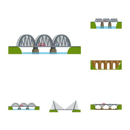 Vector illustration of bridgework and bridge logo. Set of bridgework and landmark stock vector illustration. Çizim