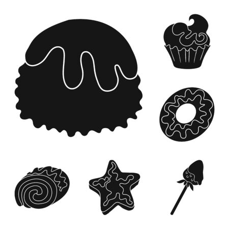 Vector illustration of sweetness and product sign. Collection of sweetness and sweet stock vector illustration.