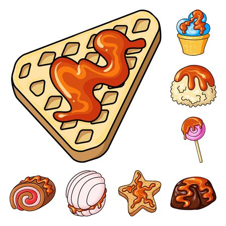 Isolated object of dessert and sweet sign. Collection of dessert and food vector icon for stock. Ilustração