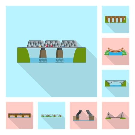 Vector design of bridgework and bridge sign. Collection of bridgework and landmark vector icon for stock. Stock Illustratie