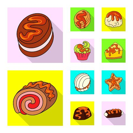 Vector illustration of confectionery and culinary sign. Set of confectionery and colorful vector icon for stock. Ilustração