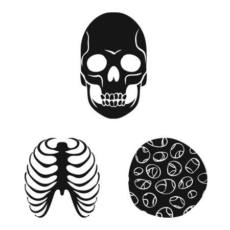 Vector design of biology and medical sign. Collection of biology and skeleton vector icon for stock. Ilustração