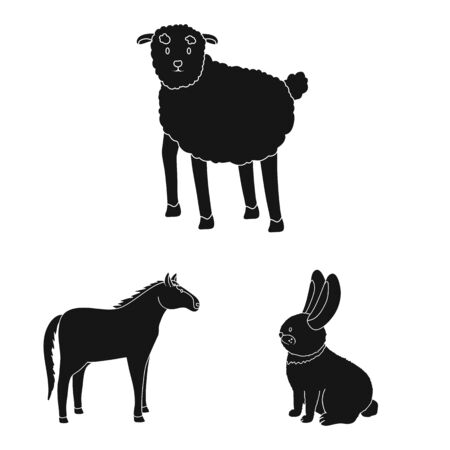 Vector design of ranch and organic symbol. Set of ranch and food vector icon for stock.  イラスト・ベクター素材