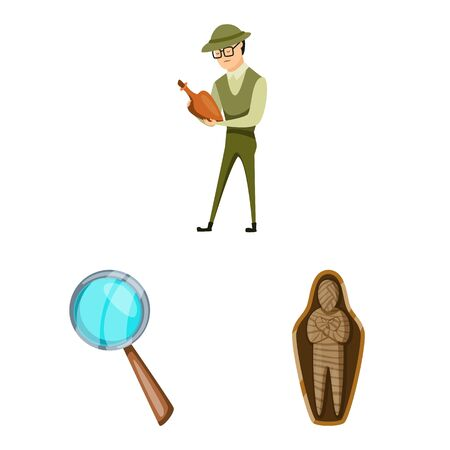 Vector illustration of archaeology and historical logo. Set of archaeology and excavation vector icon for stock. Иллюстрация
