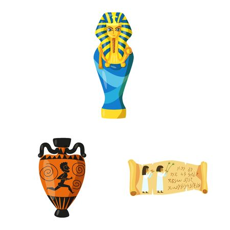 Vector design of archaeology and historical logo. Set of archaeology and excavation vector icon for stock.
