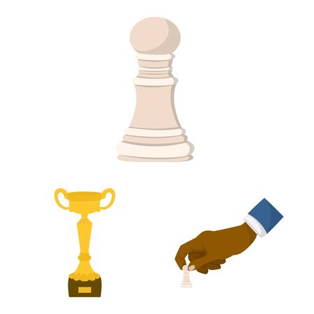 Vector illustration of chess and game symbol. Set of chess and strategy stock vector illustration. Illustration
