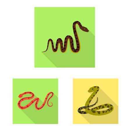 Vector illustration of skin and reptile sign. Collection of skin and danger stock symbol for web. Banque d'images - 131096543