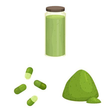 Isolated object of spirulina and seaweed icon. Set of spirulina and vegan stock vector illustration. Çizim