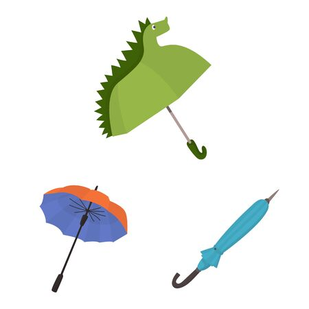 Isolated object of umbrella and rain icon. Collection of umbrella and weather stock vector illustration.