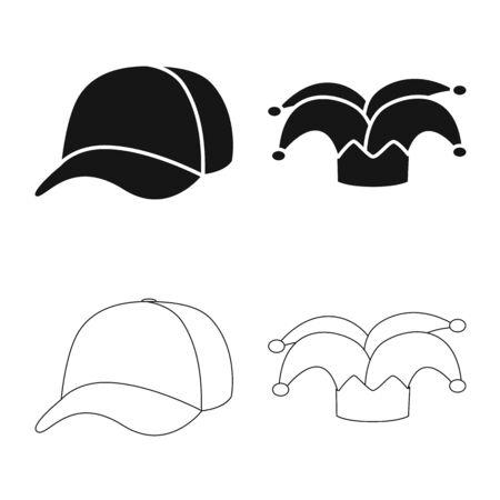 Vector design of clothing and cap symbol. Set of clothing and beret stock symbol for web.