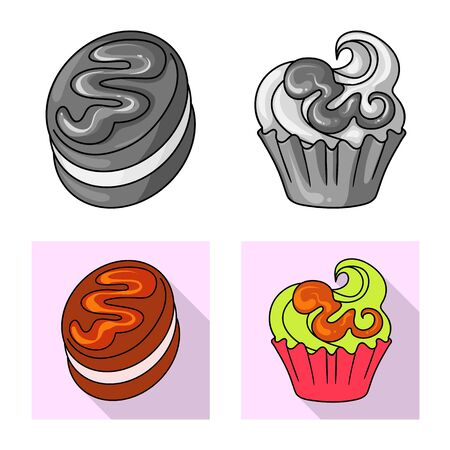 Vector illustration of confectionery and culinary logo. Set of confectionery and product stock vector illustration.