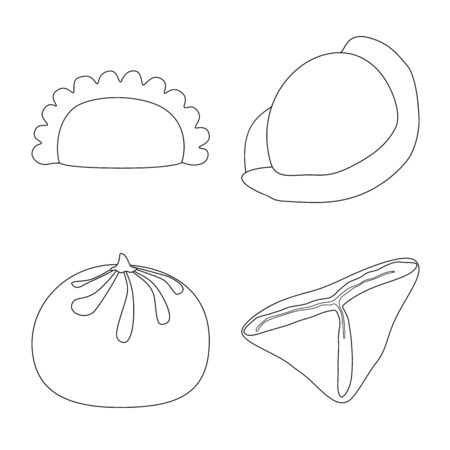 Vector design of food and dish logo. Collection of food and cooking vector icon for stock. Stock Illustratie