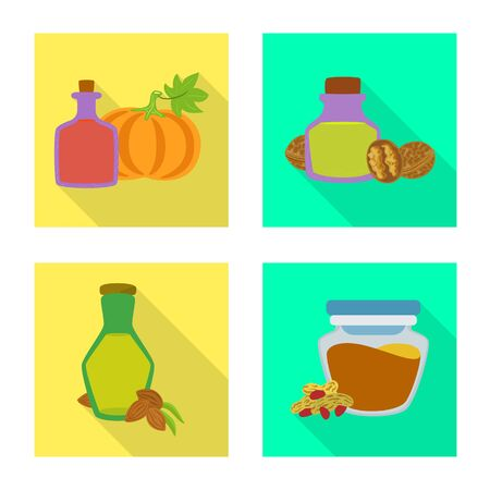 Isolated object of bottle and glass symbol. Collection of bottle and agriculture stock symbol for web. Ilustração