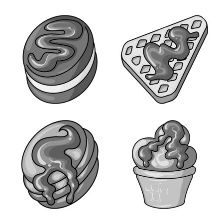 Isolated object of sweet and caramel symbol. Set of sweet and culinary stock vector illustration. Ilustração