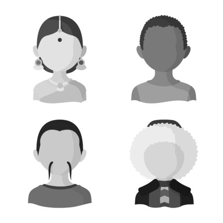 Isolated object of person and culture icon. Set of person and race stock vector illustration.