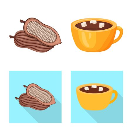 Vector design of food and yummy icon. Set of food and brown vector icon for stock.