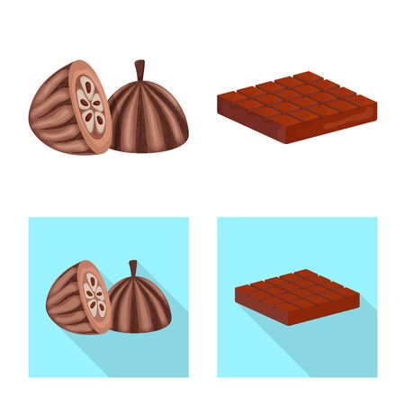 Isolated object of food and yummy icon. Set of food and brown vector icon for stock.