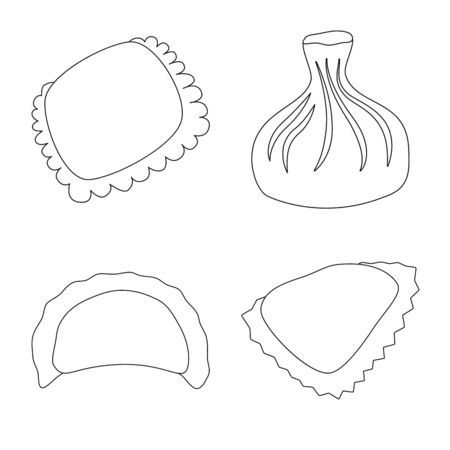Vector design of food and dish logo. Collection of food and cooking vector icon for stock. Ilustração