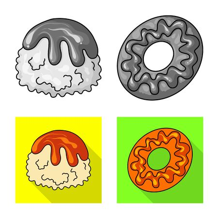 Vector illustration of confectionery and culinary symbol. Set of confectionery and product vector icon for stock. Ilustração