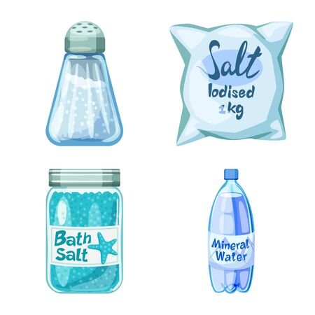 Vector design of salt and food icon. Set of salt and mineral stock symbol for web.