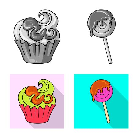 Vector design of confectionery and culinary logo. Collection of confectionery and product vector icon for stock.