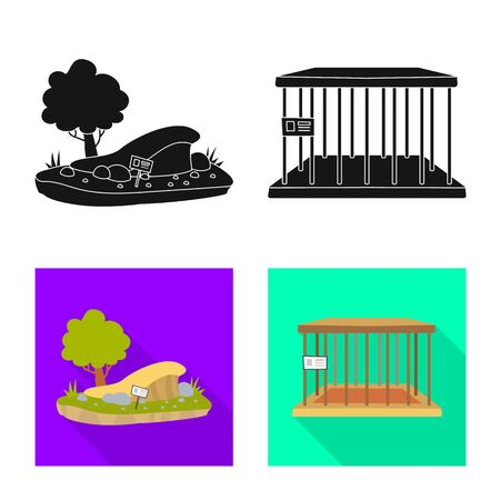 Isolated object of nature and fun logo. Set of nature and entertainment stock symbol for web.  イラスト・ベクター素材