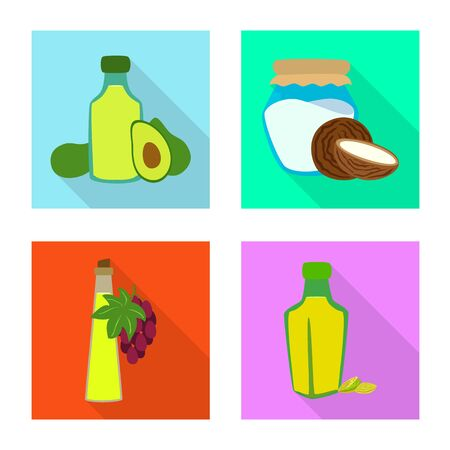 Vector design of bottle and glass icon. Set of bottle and agriculture stock symbol for web. Illusztráció