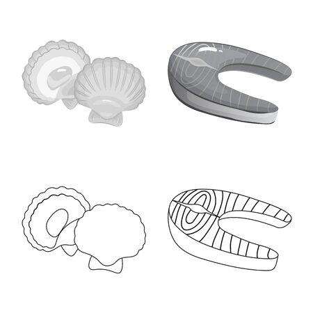 Vector illustration of fresh and restaurant symbol. Collection of fresh and marine stock symbol for web.