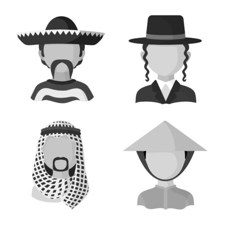 Isolated object of person and culture icon. Set of person and race stock symbol for web. Иллюстрация