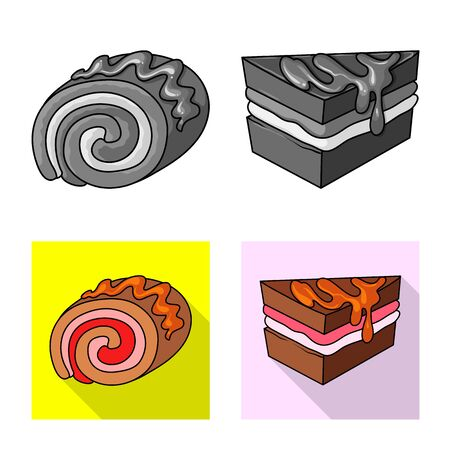 Vector illustration of confectionery and culinary icon. Collection of confectionery and product vector icon for stock. Ilustração