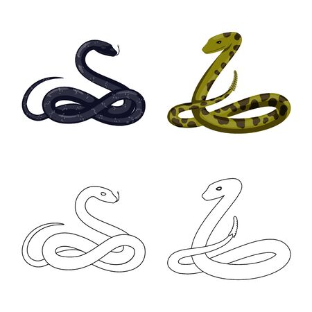 Vector illustration of mammal and danger symbol. Collection of mammal and medicine stock vector illustration. Banque d'images - 131097786