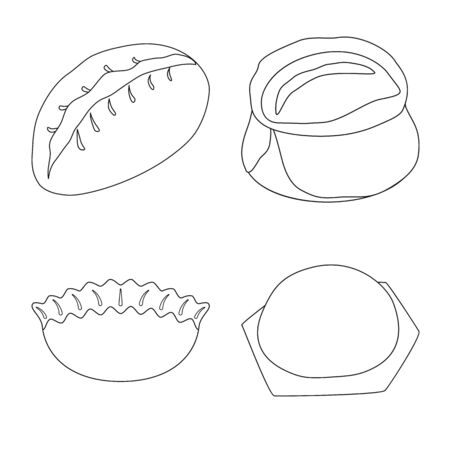 Vector design of food and dish symbol. Collection of food and cooking stock vector illustration. Stock Illustratie