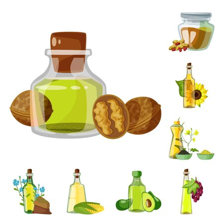 Isolated object of bottle and glass symbol. Collection of bottle and agriculture stock symbol for web. Çizim