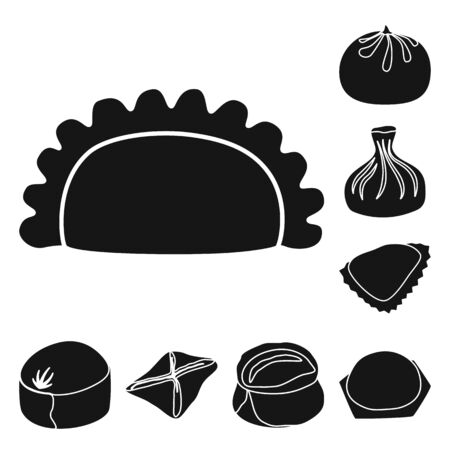 Isolated object of cuisine and appetizer icon. Set of cuisine and food stock symbol for web.