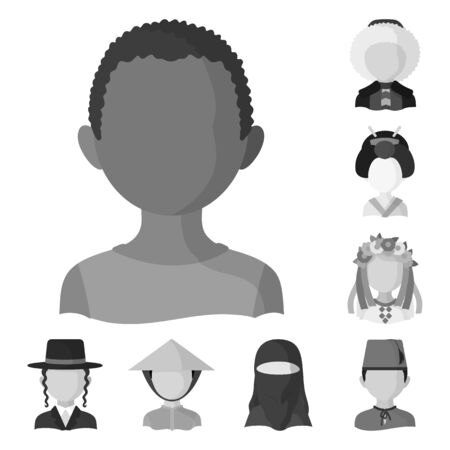 Vector design of person and culture sign. Set of person and race stock vector illustration.