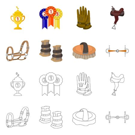 Isolated object of equipment and riding symbol. Set of equipment and competition vector icon for stock.