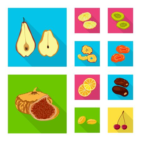 Vector illustration of fruit and dried sign. Collection of fruit and food stock vector illustration.