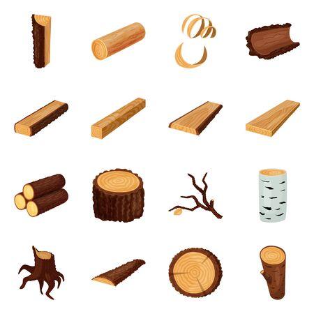 Objet isolé de panneau et panneau en bois. Collection d'enseignes et d'icônes vectorielles en bois pour le stock.