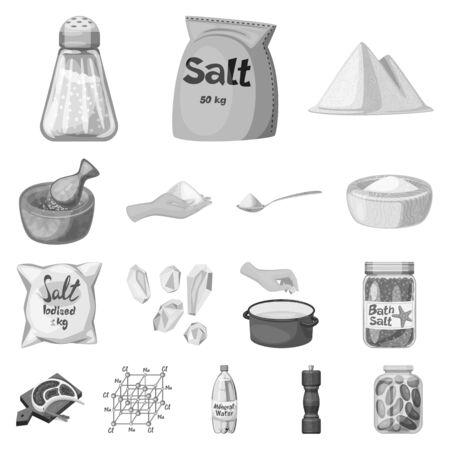 Vector design of salt and food logo. Set of salt and mineral stock symbol for web.  イラスト・ベクター素材