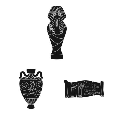 Vector design of museum and attributes sign. Set of museum and historical stock vector illustration.