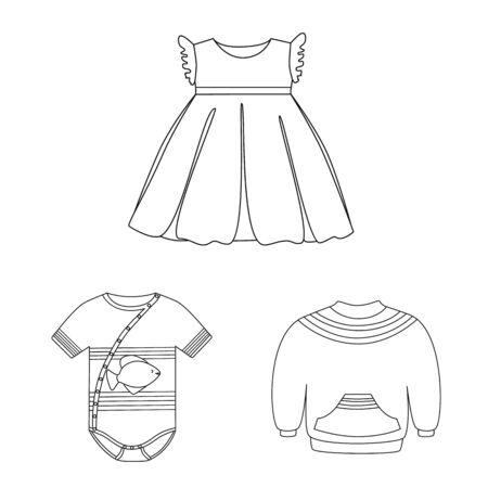 Vektordesign von Abnutzungs- und Kinderzeichen. Satz von Abnutzungs- und Bekleidungsvektorsymbol für Lager Vektorgrafik