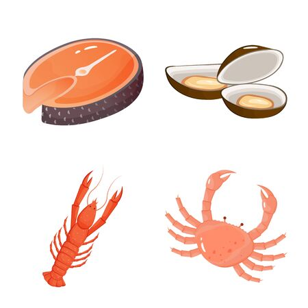 Vector design of food and sea symbol. Collection of food and healthy vector icon for stock.