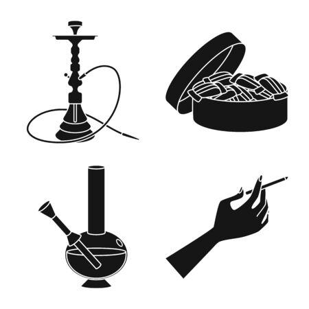 Vector design of anti and habit icon. Collection of anti and tobacco vector icon for stock. Illusztráció