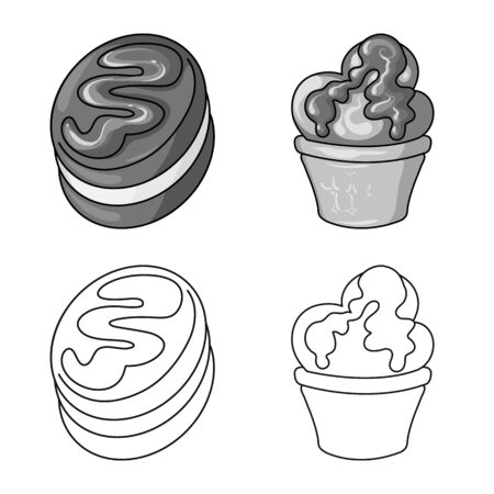 Vector design of confectionery and culinary sign. Collection of confectionery and product vector icon for stock. Иллюстрация